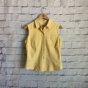 Roper Tank Top, Button Front, Collared, Yellow, M